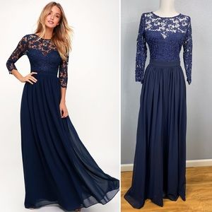 Lulus Touch My Heart Navy Lace-Up Lace Maxi Dress